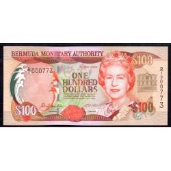 Бермудские Острова 100 долларов 2000  г. (BERMUDA 100 Dollars 2000) P55а:Unc
