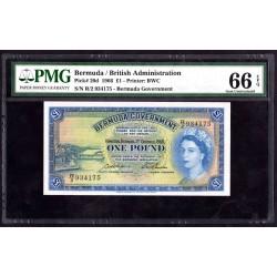 Бермудские Острова 1 фунт 1966 г. (BERMUDA 1 Pound 1966) P20d:66 greid slab