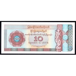 Мьянма 10 долларов ND (1993 г.) (MYANMAR 10 US Dollars ND (1993)) PFX3:Unc