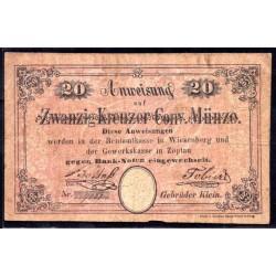 Богемия и Моравия (Австрийская) 20 крейцеров 1849 г. (BOHEMIA & MORAVIA (Austrian Bohemia) 20 kreuzer 1849) P:VF+