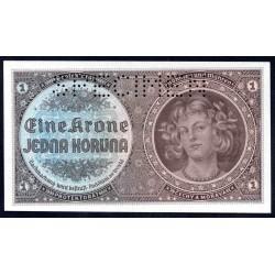Богемия и Моравия 1 крона ND (1940 г.) (BOHEMIA & MORAVIA 1 Krone / Koruna ND (1940)) P3s:Unc SPECIMEN