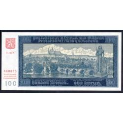 Богемия и Моравия 100 крон 1940 г. (BOHEMIA & MORAVIA 100 Kronen / Korun 1940) P6s:Unc