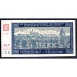Богемия и Моравия 100 крон 1940 г. (BOHEMIA & MORAVIA 100 Kronen / Korun 1940) P6a:Unc