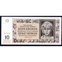Богемия и Моравия 10 крон 1942 г. (BOHEMIA & MORAVIA 10 Kronen / Korun 1942) P8s:Unc SPECIMEN