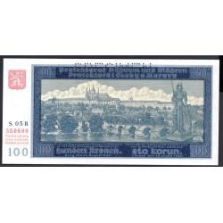 Богемия и Моравия 100 крон 1940 г. (BOHEMIA & MORAVIA 100 Kronen / Korun 1940) P6s:Unc SPECIMEN