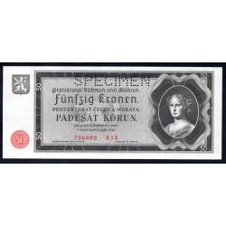Богемия и Моравия 50 крон 1940 г. (BOHEMIA & MORAVIA 50 Kronen / Korun 1940) P5s:Unc SPECIMEN