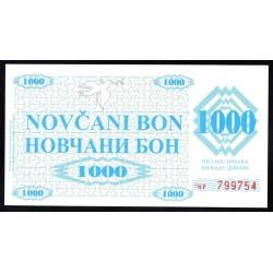 Босния и Герцеговина 1000 динар 1992 г. (BOSNIA & HERZEGOVINA 1000 Dinara 1992) P8:Unc