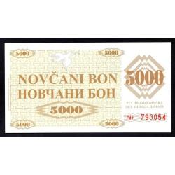 Босния и Герцеговина 5000 динар 1992 г. (BOSNIA & HERZEGOVINA 5000 Dinara 1992) P9r:Unc