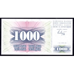 Босния и Герцеговина 1000 динар 1992 г. (BOSNIA & HERZEGOVINA 1000 Dinara 1992) P15:Unc