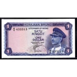 Бруней 1 ринггит 1967 г. (BRUNEI 1 Ringgit / Dollar 1967 g.) P1:Unc