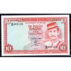 Бруней 10 ринггит 1986 г. (BRUNEI 10 Ringgit / Dollars 1986 g.) P8b:Unc