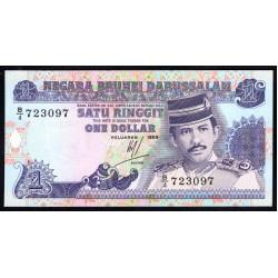 Бруней 1 ринггит 1989 г. (BRUNEI 1 Ringgit / Dollar 1989 g.) P13а:Unc