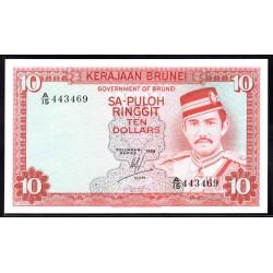 Бруней 10 ринггит 1983 г. (BRUNEI 10 Ringgit / Dollars 1983 g.) P8b:Unc