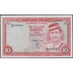 Бруней 10 ринггит 1981 г. (BRUNEI 10 Ringgit / Dollars 1981 g.) P8a:Unc