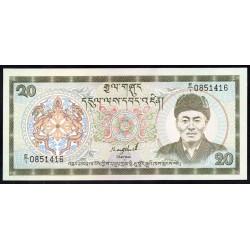Бутан 20 нгултрум ND (1986-2000 г.) (BHUTAN 20 Ngultrum ND (1986-2000)) P16а:Unc