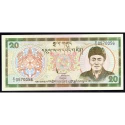 Бутан 20 нгултрум ND (2000 г.) (BHUTAN 20 Ngultrum ND (2000)) P23:Unc