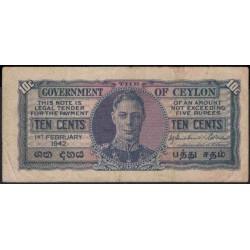 Цейлон 10 центов 1942 год (Ceylon 10 cents 1942 year) P 43a : VF