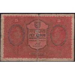 Чехословакия 5 корун 1919 г. (CZECHOSLOVAKIA 5 Koruna 1919) P7:VF