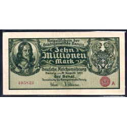 Данциг  10 миллионов марок 1923 г. (DANZIG 10.000.000 Mark 1923) P25:Unc