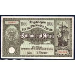 Данциг 1000 марок 1922 г. (DANZIG 1000 Mark 1922) P15:Unc
