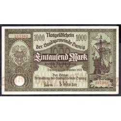 Данциг 1000 марок 1922 г. (DANZIG 1000 Mark 1922) P15:XF