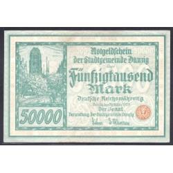 Данциг 50000 марок 1923 г. (DANZIG 50000 Mark 1923) P19:XF