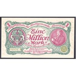 Данциг  1 миллион марок 1923 г. (DANZIG 1.000.000 Mark 1923) P24а:Unc