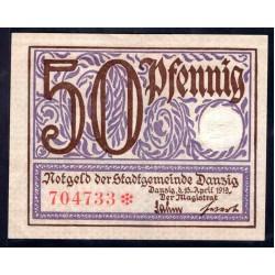 Данциг 50 пфенниг 1919 г. (DANZIG 50 Pfennig 1919) P11:Unc-