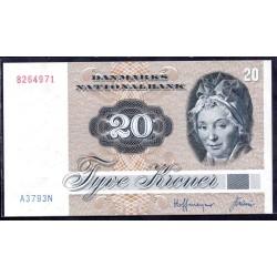 Дания 20 крон ND (1979-1988 г.) (DENMARK 20 Kroner ND (1979-1988)) P49а:Unc
