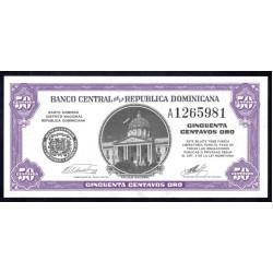 Доминиканская Республика 50 центаво ND (1962 г.) (DOMINICAN REPUBLIC 50 Centavos Oro ND (1962 g.)) P89:Unc