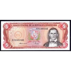 Доминиканская Республика 5 песо 1988 г. (DOMINICAN REPUBLIC 5 Pesos Oro 1988 g.) P118c:Unc