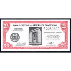 Доминиканская Республика 25 центаво ND (1962 г.) (DOMINICAN REPUBLIC 25 Centavos Oro ND (1962 g.)) P87:Unc