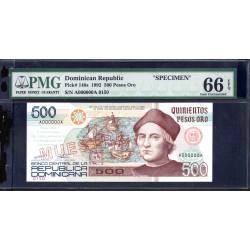 Доминиканская Республика 500 песо 1992 г. (DOMINICAN REPUBLIC 500 Pesos Oro 1992 g.) P140s:66 greid slab SPECIMEN
