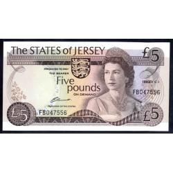 Джерси 5 фунтов ND (1976-1988 г.) (JERSEY 5 Pounds ND (1976-1988)) P12а:Unc