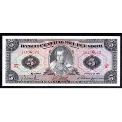 Эквадор 5 сукре 1970 г. (ECUADOR 5 sucres 1970 g.) P100d:Unc
