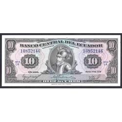 Эквадор 10 сукре 1975 г. (ECUADOR 10 sucres 1975 g.) P109:Unc