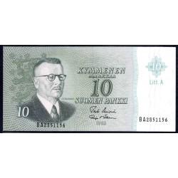 Финляндия 10 марок 1963 г. (FINLAND 10 Markkaa / Mark 1963) P100:Unc