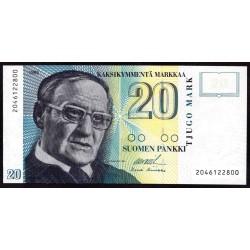 Финляндия 20 марок 1993 г. (FINLAND 20 Markkaa / Mark 1993) P122:Unc
