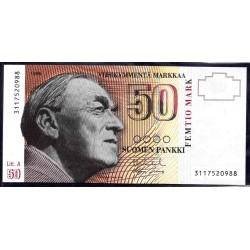 Финляндия 50 марок 1986 г. (FINLAND 50 Markkaa / Mark 1986) P118:Unc Litt. A