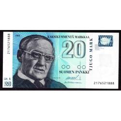 Финляндия 20 марок 1993 г. (FINLAND 20 Markkaa / Mark 1993) P123:Unc Litt.A