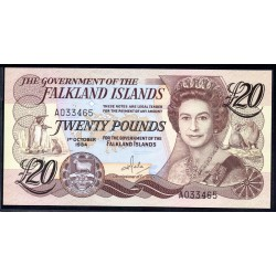 Фоклендские Острова 20 фунтов 1984 г. (FALKLAND ISLANDS 20 Pounds 1984) P15:Unc
