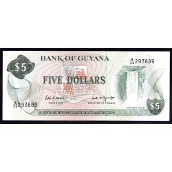 Гайана 5 долларов ND (1966 -92 г.) (GUYANA 5 dollars ND (1966-1992 g.) P22e:Unc