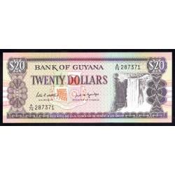 Гайана 20 долларов ND (1989 г.) (GUYANA 20 dollars ND (1989 g.) P27(1):Unc
