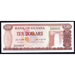 Гайана 10 долларов ND (1966 -92 г.) (GUYANA 10 dollars ND (1966-1992 g.) P23d:Unc