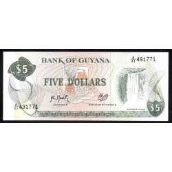 Гайана 5 долларов ND (1966 -92 г.) (GUYANA 5 dollars ND (1966-1992 g.) P22f:Unc