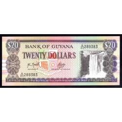 Гайана 20 долларов ND (1989 г.) (GUYANA 20 dollars ND (1989 g.) P27(2):Unc