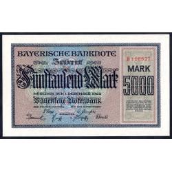 Земельные деньги, Баварский Банк 5000 марок, Мюнхен 1922 год (Bayershe Banknote 5000 mark 1922 Landerbanknote) PS 925: UNC
