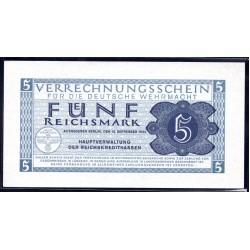 Вермахт 5 Рейхсмарок 1944/45 год (Wehrmacht 5 Reichsmark 1942/44 year) P-M39: UNC