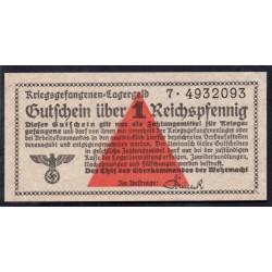 Германия, лагерные деньги 1 Рейхспфеннинг 1939/45 год (1 Reichspfennig Lagergeld 1939/45 year, RAR)  Ro 515: UNC