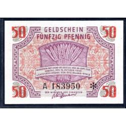 Земельные деньги, 50 пфеннингов 1947 года, Правительство земли Рейн-Пфальтц, Редкие! ( 50 pfennig 15/10/1947 year Rheinland-Pfalz, Landesregierung) Ro 214, PS 1006 :UNC